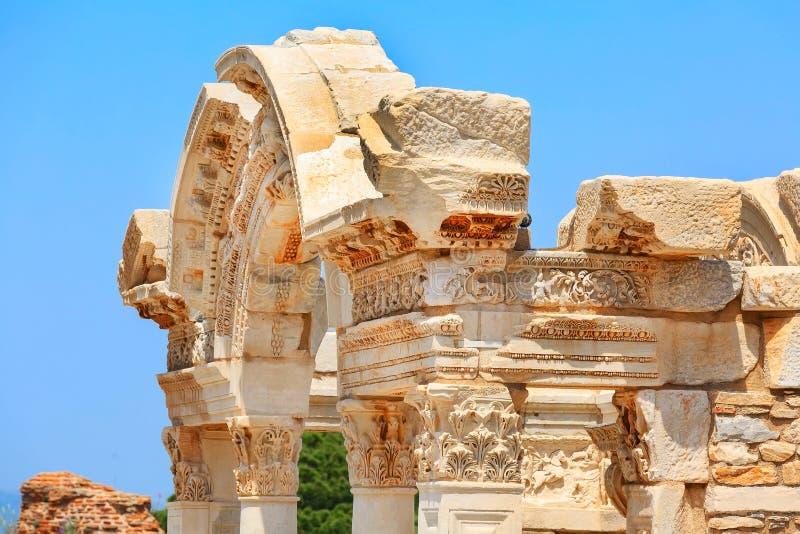 Temple of hadrian ruins in Ephesus, Turkey stock image