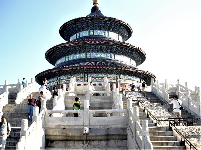 Temple of Heaven in Beijing city, China. Stairsway, history, time and tourism royalty free stock photo