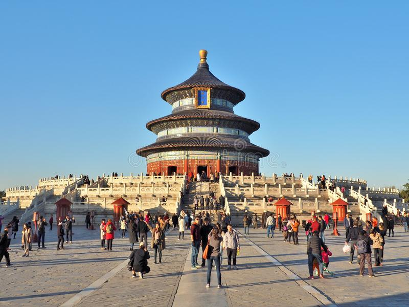 The Temple of Heaven with tourists in Beijing, China. stock photography