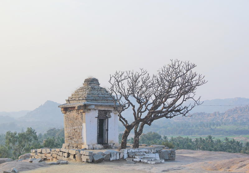 Temple at Hemakuta hill, Hampi, India royalty free stock images