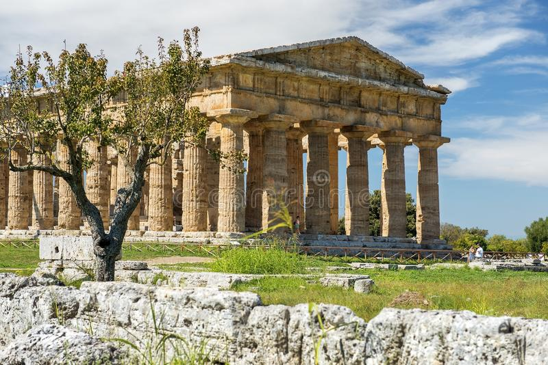 Second temple of Hera in Poseidonia Paestum, Campania, Italy. Temple of Hera II also erroneously called the Temple of Neptune or of Poseidon, ancient Greek royalty free stock photography