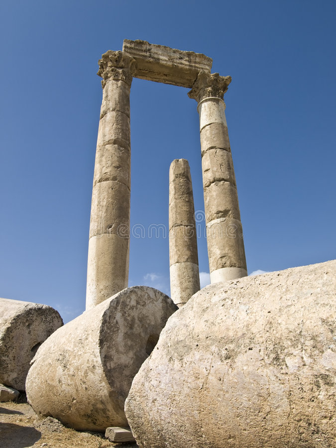 Temple of Hercules in Amman Ci royalty free stock image