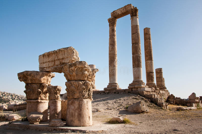 The Temple of Hercules, Amman Citadel, Jordan. The Temple of Hercules, an ancient Roman ruin located at the Amman Citadel, Jordan stock image