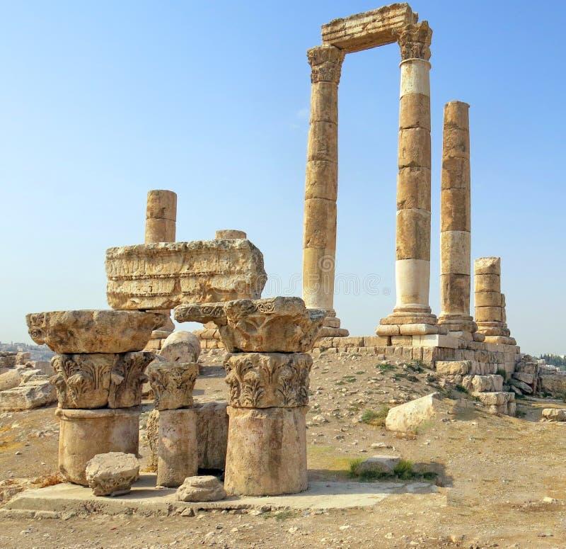 Temple of Hercules on the Citadel Mountain in Amman. In Jordan stock image