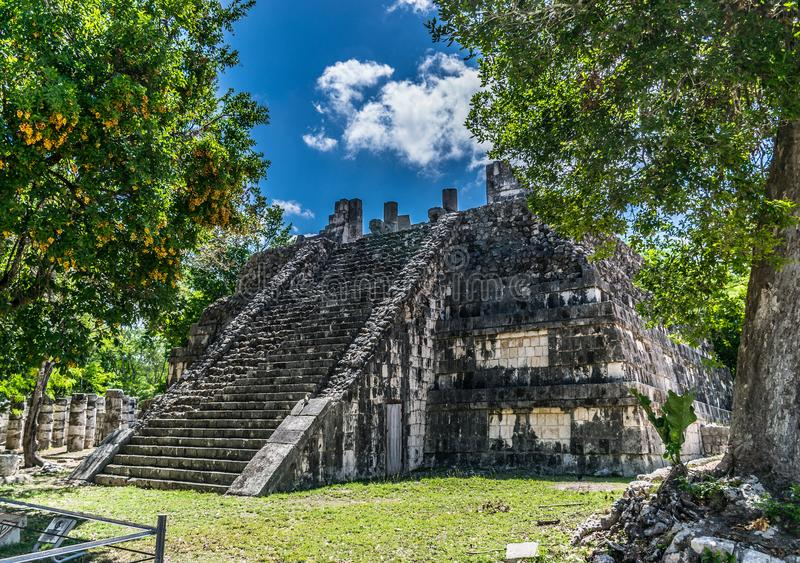 Temple of the High Priests in Chichen Itza, Mexico royalty free stock photography