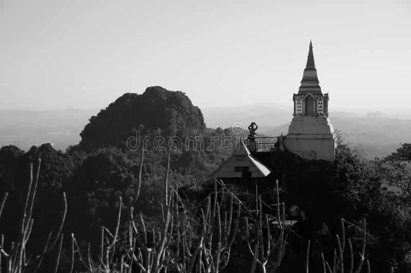 Temple on hill B&W stock images