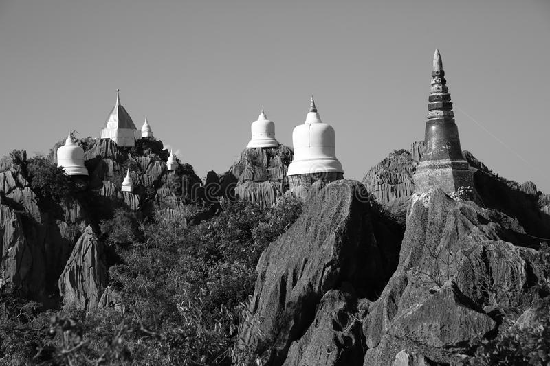Temple on hill B&W2 stock photo