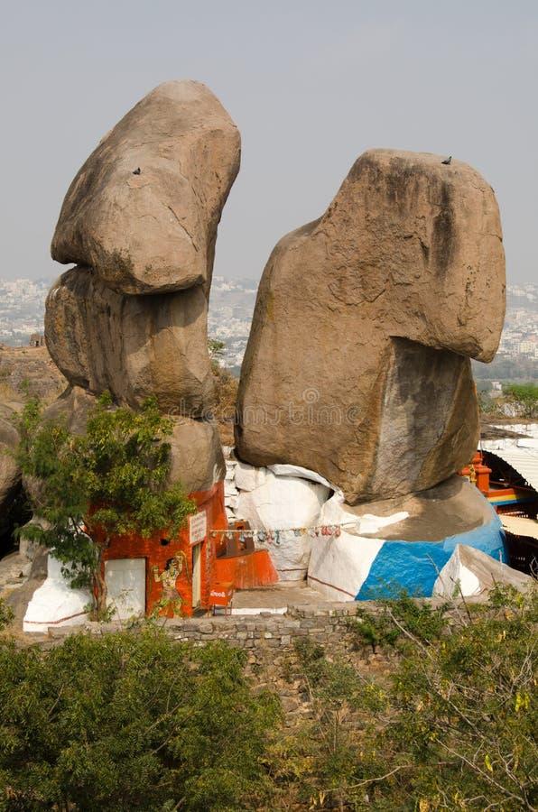 Temple hindou, fort de Golkonda images stock