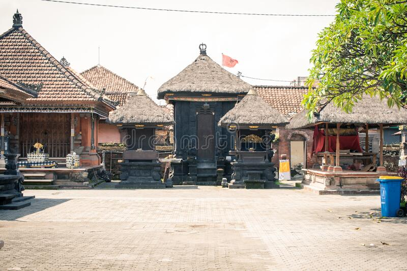 Denpasar City, Bali Island. Indonesia. The temple hindu in the city center of Denpasar before the president of Indonesia arrives. Denpasar is the capital city of royalty free stock photos