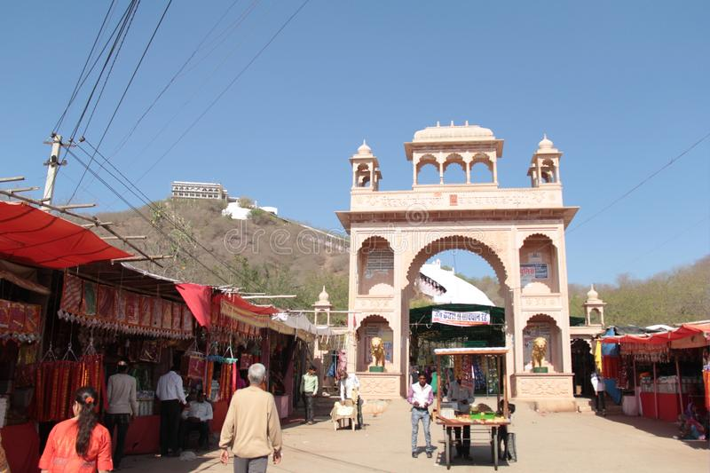 Temple of Hindu godess Chauth Mata stock photography