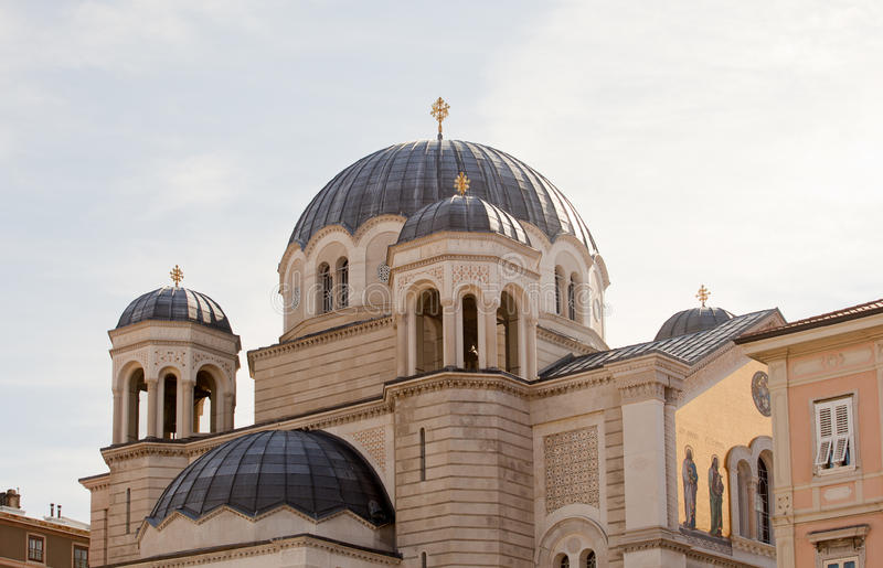 Temple of the Holy Trinity and St Spirid, Trieste stock photo