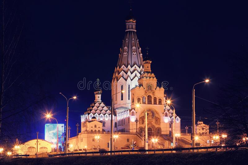 Temple in honor of all the saints in Minsk stock photos