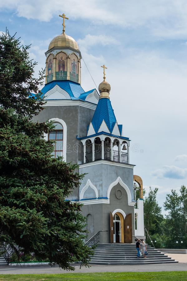 Temple in honor of the Mother of God `burning Bush` in the city of Dyadkovo, Bryansk region of Russia. This Orthodox Church has a special iconostasis of stock photos