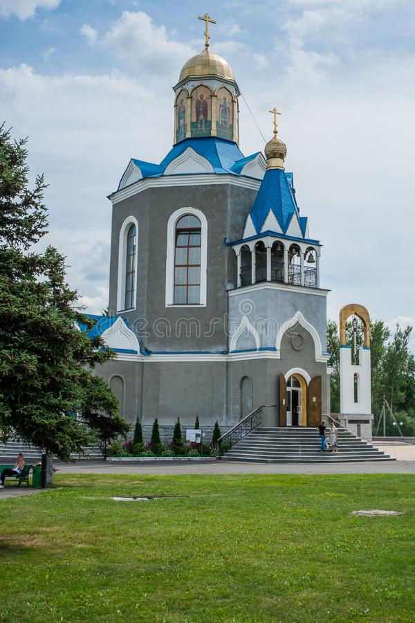 Temple in honor of the Mother of God `burning Bush` in the city of Dyadkovo, Bryansk region of Russia. This Orthodox Church has a special iconostasis of stock photography