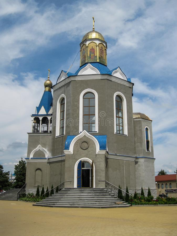 Temple in honor of the Mother of God `burning Bush` in the city of Dyadkovo, Bryansk region of Russia. This Orthodox Church has a special iconostasis of royalty free stock images