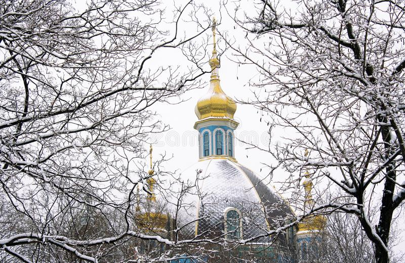 Temple in Mariupol, Ukraine. Temple in honor of the Protection of the Mother of God in Mariupol, Ukraine on a winter day royalty free stock image