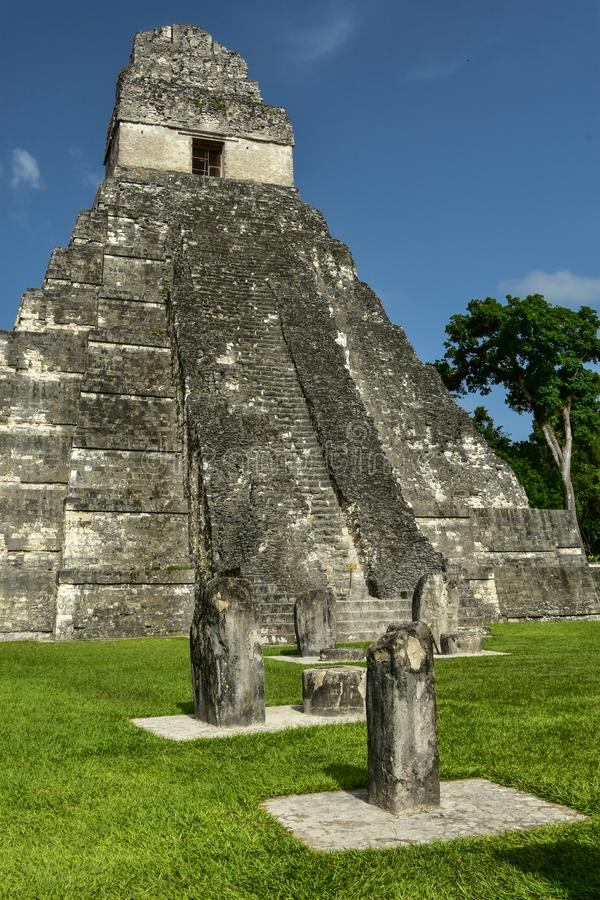 Temple I au parc national de Tikal, Guatemala image stock