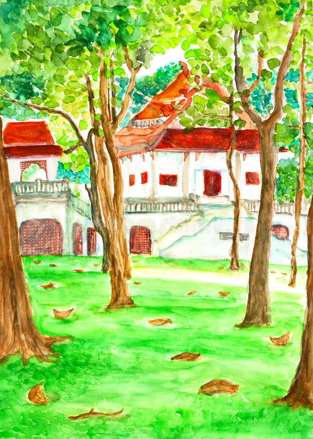 Free Temple In Forest Watercolor Painted Royalty Free Stock Image - 56763446