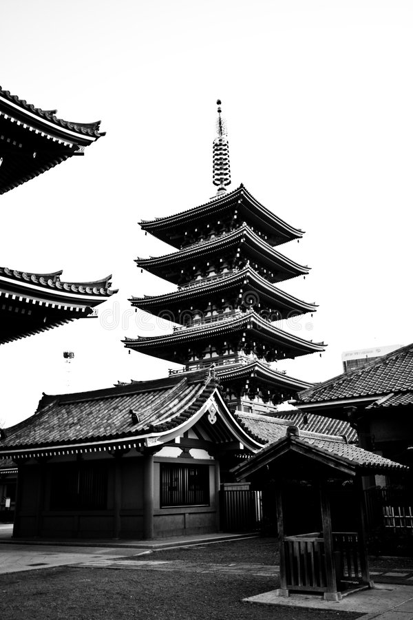 Free Temple In Japan, Sensoji Black And White Royalty Free Stock Photography - 8265457