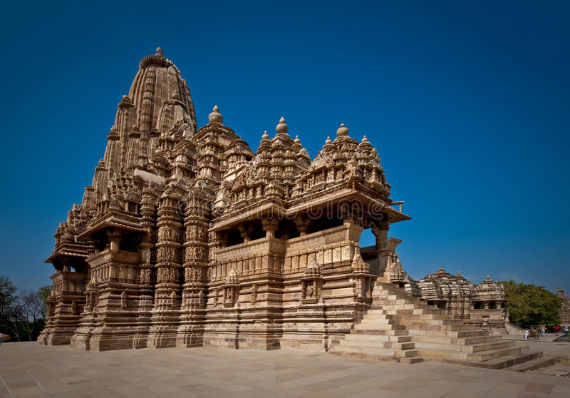 Temple indien chez Khajuraho images stock