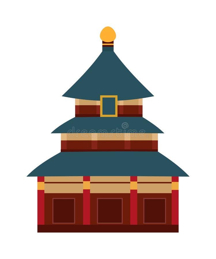 Temple indien de vecteur avec le bâtiment de bande dessinée de voûte illustration libre de droits