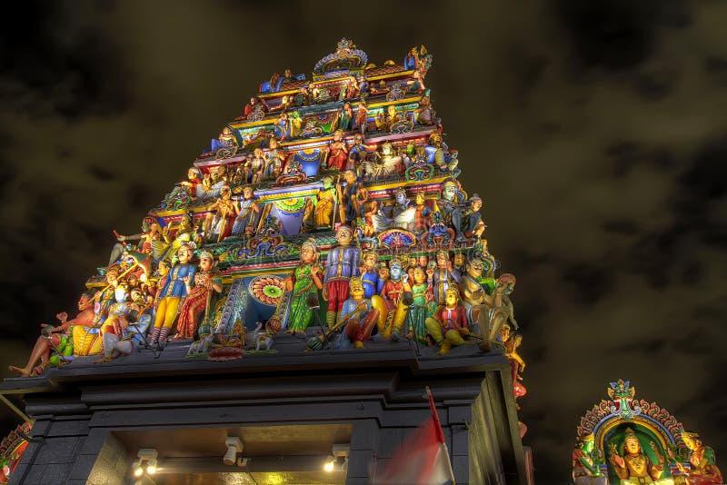Temple indou Singapour de Sri Mariamman la nuit images libres de droits
