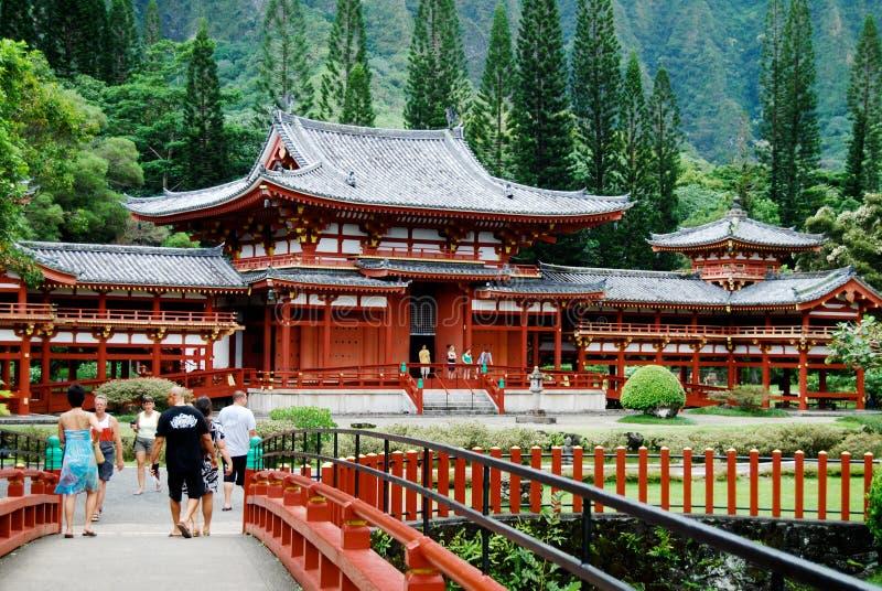 Temple japonais d'Oahu Hawaï Bouddha de temple de Byodo photos stock