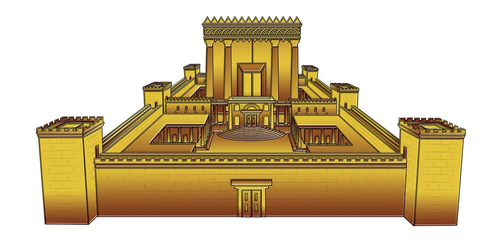Temple of Jerusalem. Second Temple on white background, Clipping path included vector illustration