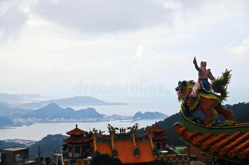 Temple at Jiufen in Taiwan. Taiwan has many great places to explore and Jiufen is no exception. Jiufen is a popular tourist destination overlooking the sea royalty free stock photo