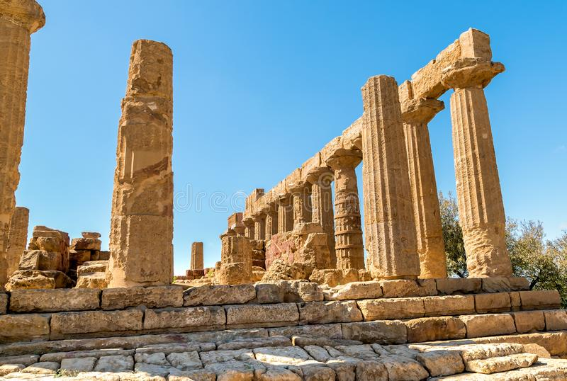 Temple of Juno located in the park of the Valley of the Temples in Agrigento, Sicily royalty free stock photo