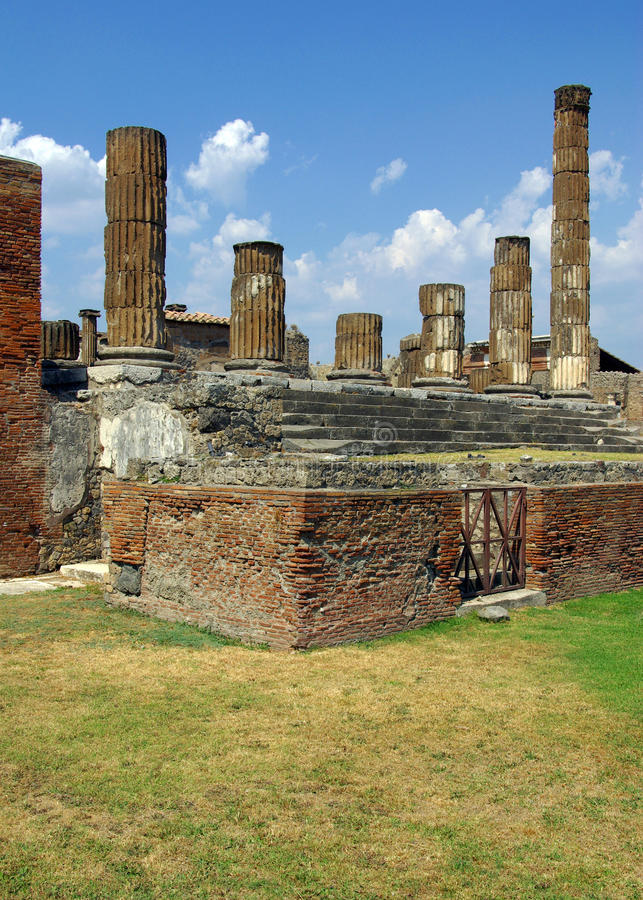 Temple of Jupiter - Pompei, Italy. View of the Temple of Jupiter in the ancient city of Pompei - Italy royalty free stock photography
