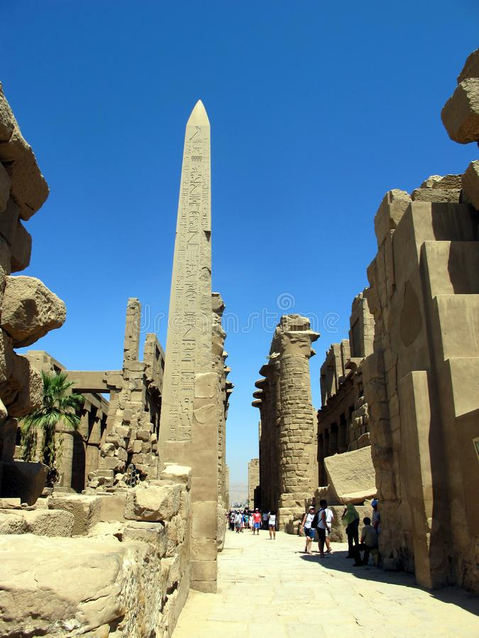 The Temple of Karnak in Luxor is the largest temple complex of ancient Egypt royalty free stock photo