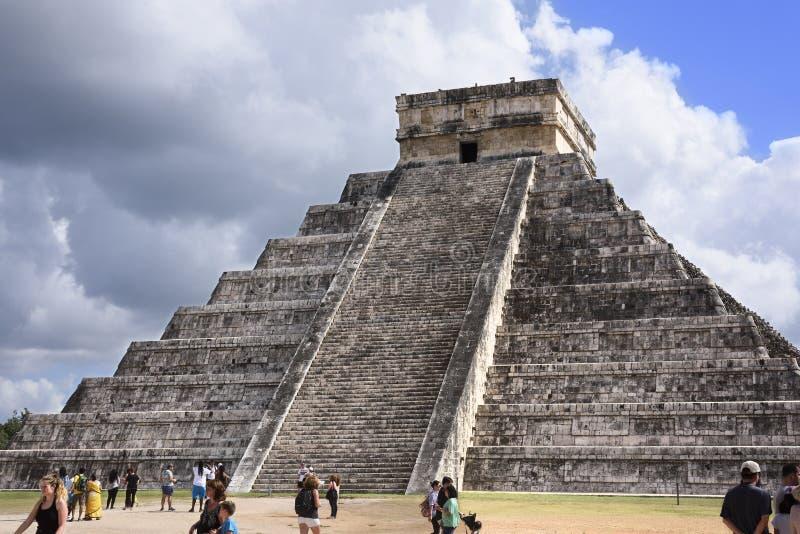 Temple of Kukulkan Pyramid El Castillo in Chichen Itza ruins, royalty free stock photography
