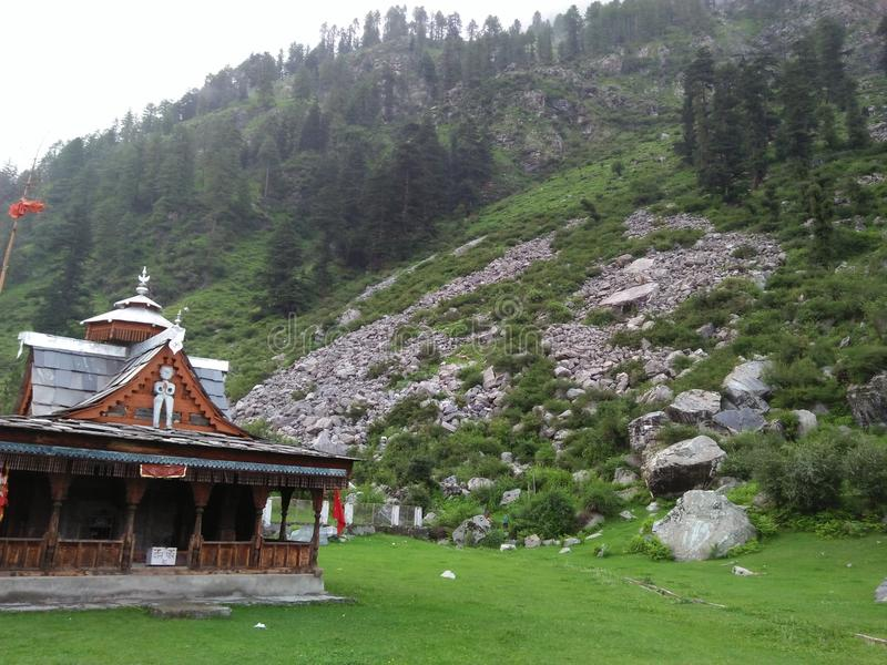 Temple kullu. Himachal beauty kullu temple evergreen stock photos