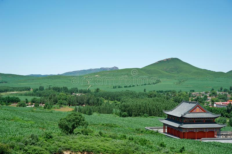 Temple in landscape. Rui Ying Temple which is a tibetan buddhism temple royalty free stock photo