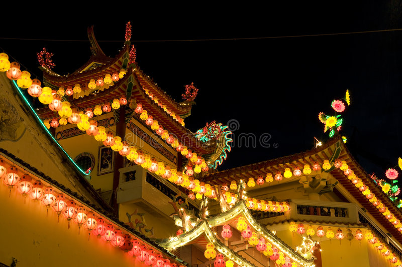 Download Temple Lighted Up For Chinese New Year Stock Image - Image of buddhist, lights: 7899187