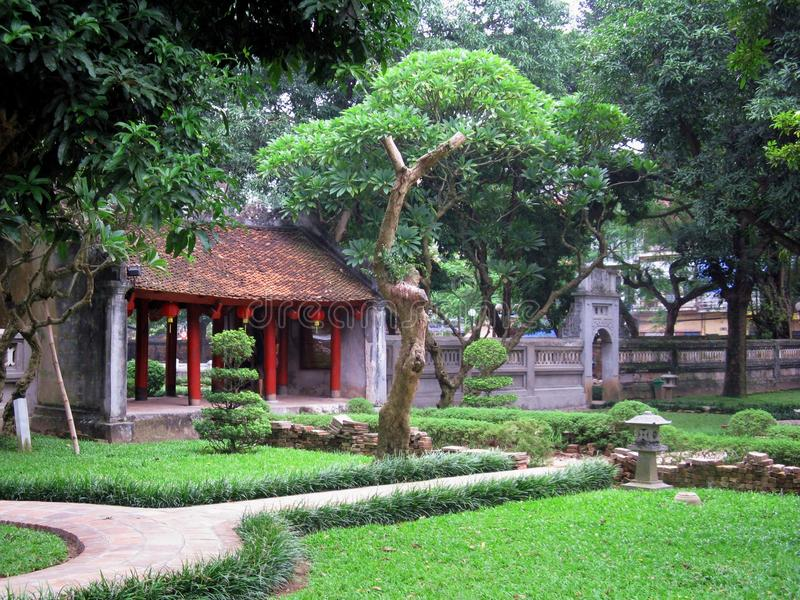 Temple of literature. View of the inner garden of the temple of literature in Hanoi. First built in 1070 under king Lý Nhân Tông this is the most royalty free stock image