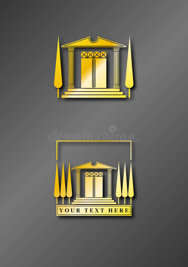 Temple Logo Gold. Illustration of a stylized ancient golden temple to be used as logo or icon