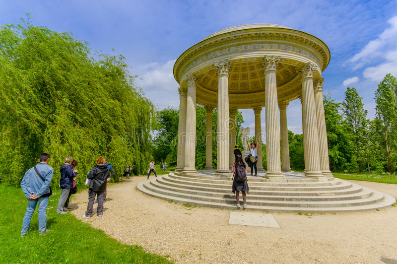 The Temple of Love, located behind Petit Trianon. PARIS, FRANCE - JUNE 1, 2015: The Temple of Love, located in the gardens behind Le Petit Trianon in Versailles stock photo