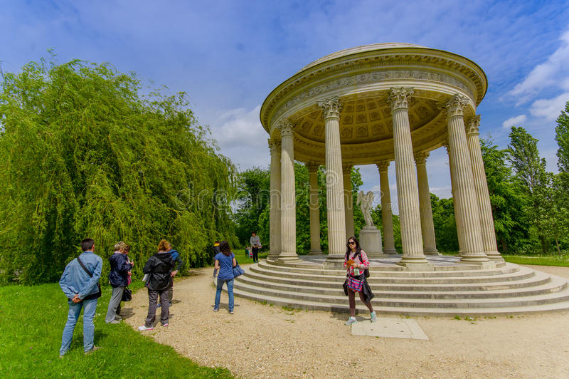 The Temple of Love, located behind Petit Trianon. PARIS, FRANCE - JUNE 1, 2015: The Temple of Love, located in the gardens behind Le Petit Trianon in Versailles stock images