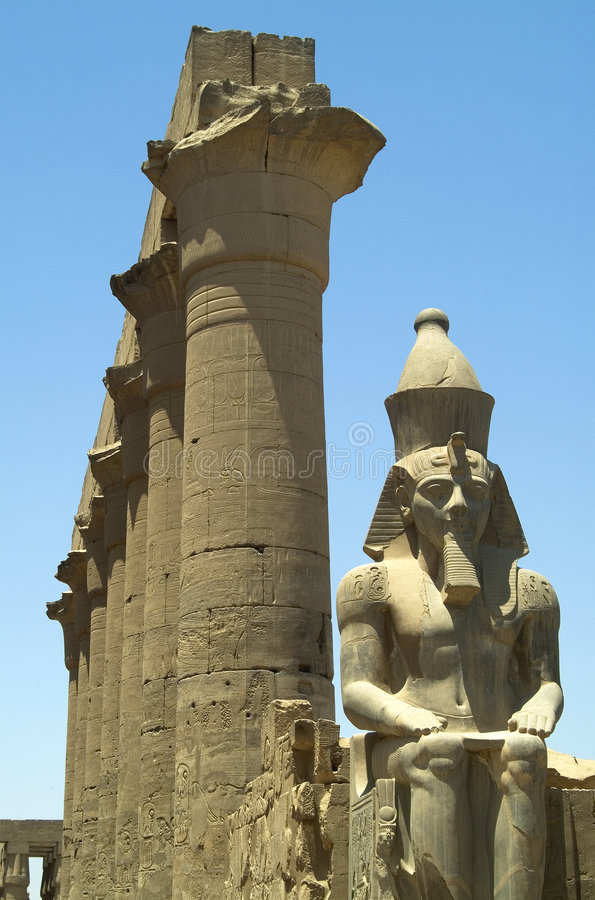 Temple of Luxor. Columns and statue in the Temple of Luxor, Egypt royalty free stock photography