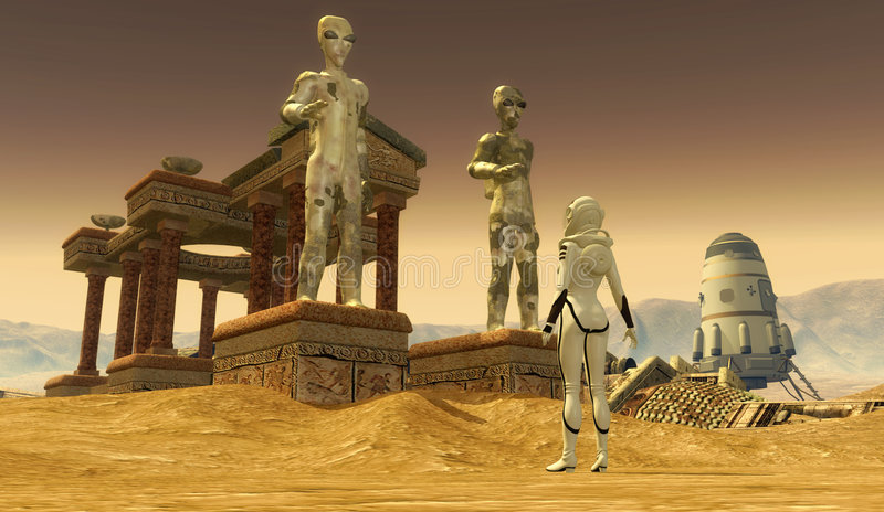 Temple on mars. An astronaut discover a fogotten alien temple on mars in 3d vector illustration