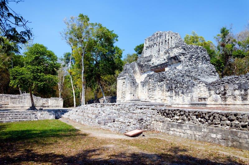 Temple maya antique dans Chicanna photographie stock libre de droits