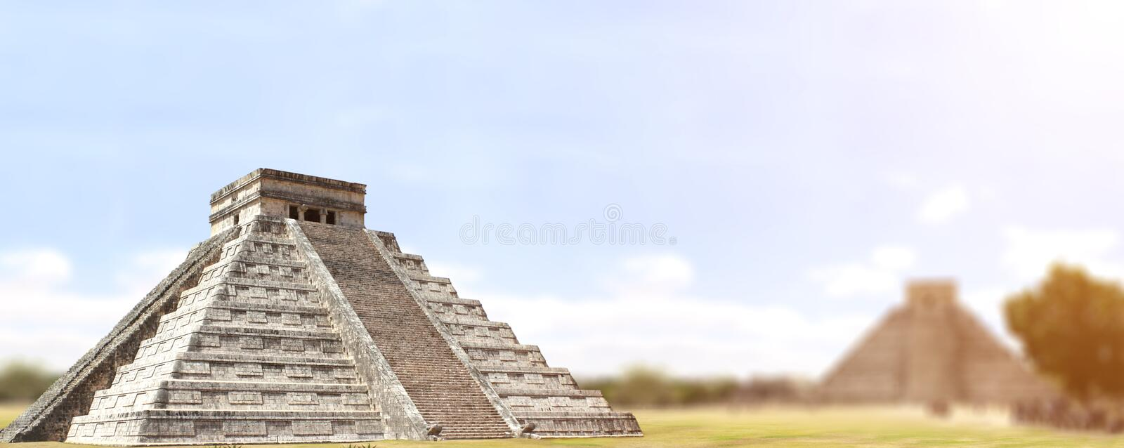 Temple maya antique de Kukulcan de pyramide, Chichen Itza, Yucatan, images stock