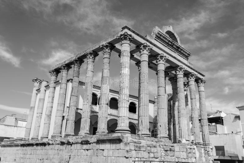 Roman temple to Diana in Merida (Spain royalty free stock photo