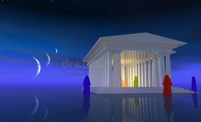 The temple mists royalty free illustration