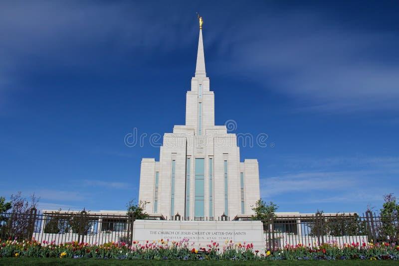 Temple mormon de montagne d'Oquirrh photos stock