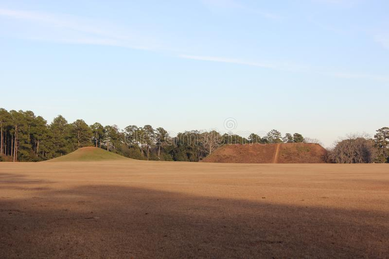 Temple Mound and Mound C in Kolomoki Mounds stock images