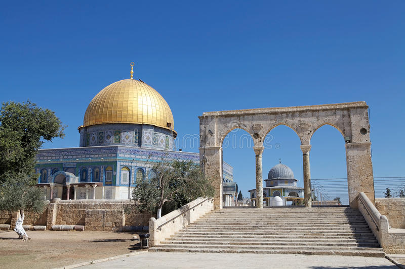 Temple Mount. The staircase and the Dome of the Rock Mosque at the Temple Mount, Jerusalem, Israel. According with the islamic tradition, this is the staircase stock image
