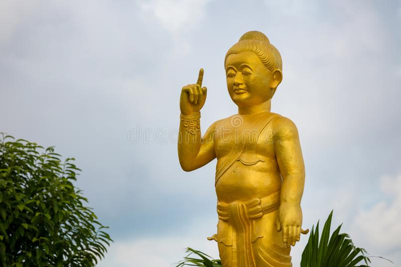 Temple in mountain with Gold Big Buddha is highest point of Koh Sumui. Thailand royalty free stock photo